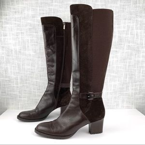 Aquatalia leather suede and stretch knee boots, 11